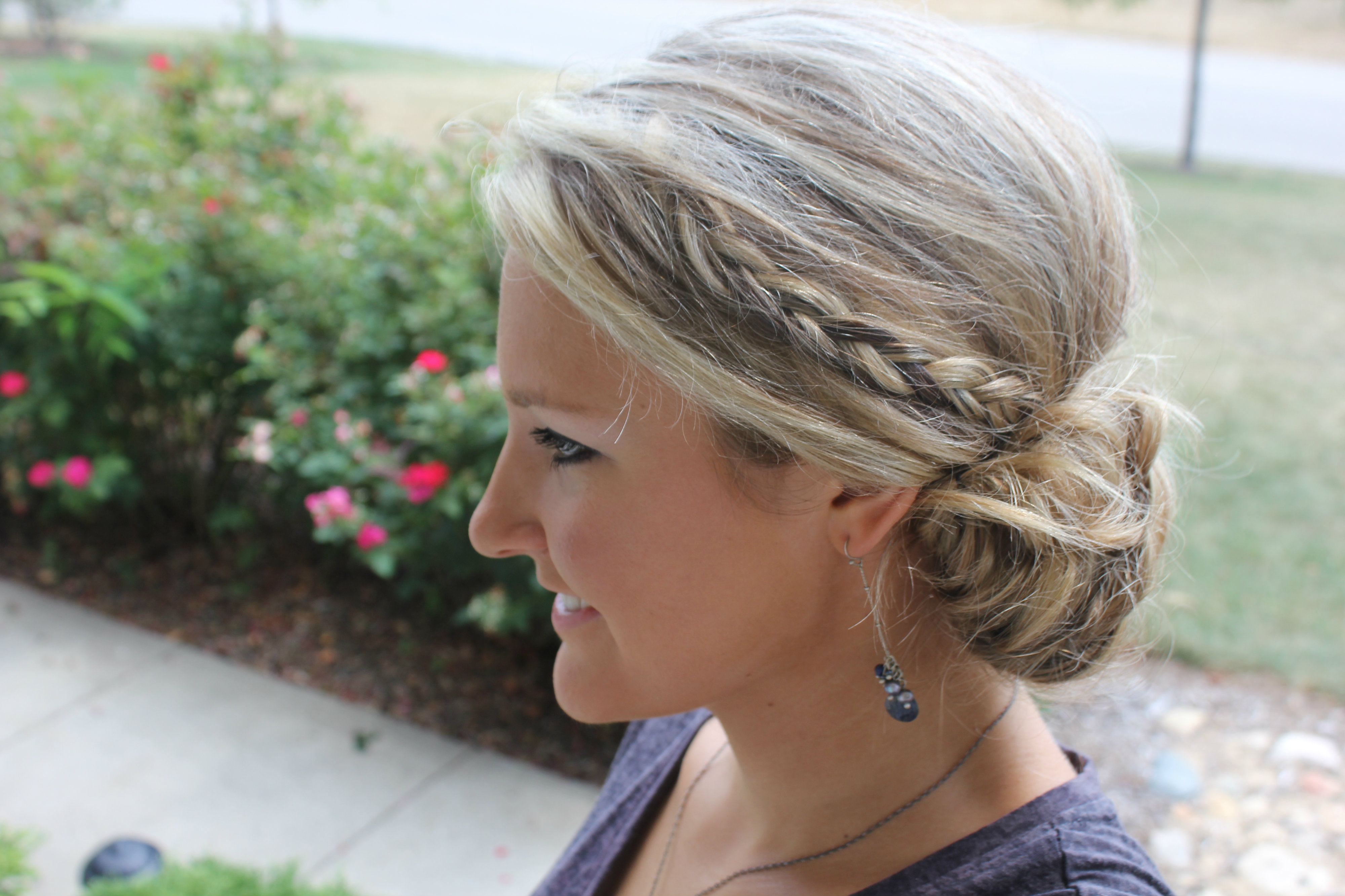 How to Style a Simple Messy Bun with Braids