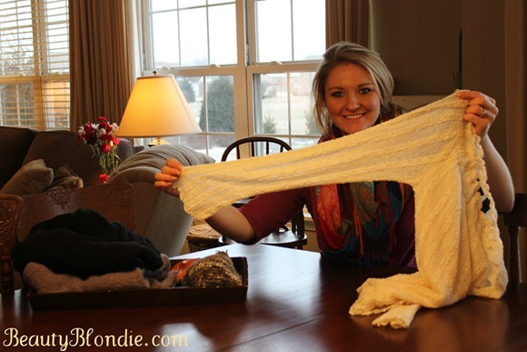 Use an old sweater sleeve to make leg warmers