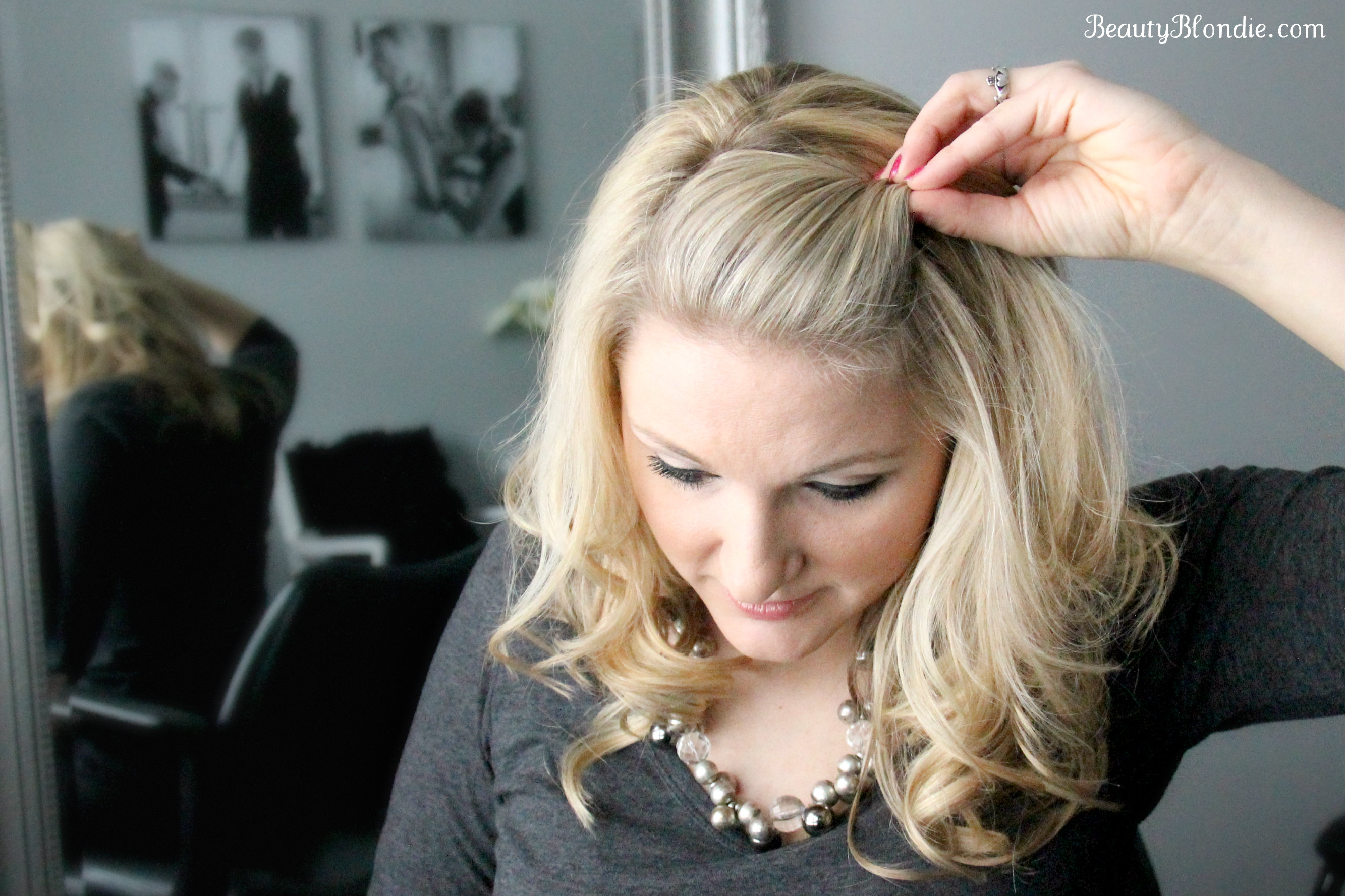 Side Bang, Pin Back Poof Using Just 1 Bobby Pin {Video}